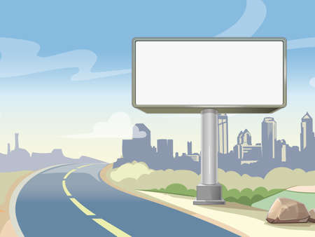 Blank advertising highway billboard and urban landscape. Commercial advertisement outdoor, board poster. Vector illustration Vector Illustration