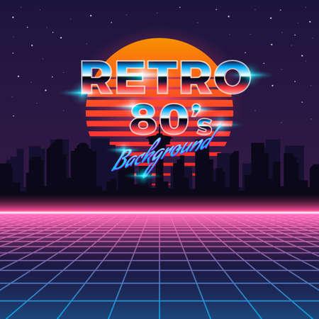 Retro neon background in 80's style