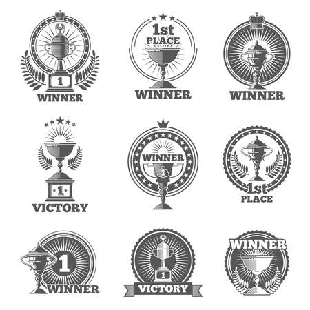Victory trophies and awards vector logos, badges, emblems. Win cup sport, champion stamp, vector illustration