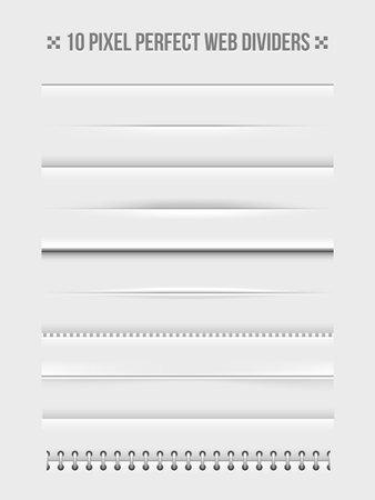 Set of horizontal web dividers design elements. Frame and bookbinder. Vector illustration