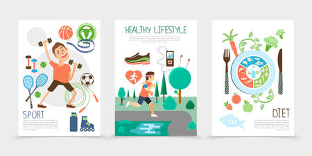 Flat healthy lifestyle brochures with fitness man sport equipment athlete running in public park fruits fish and vegetables vector illustration