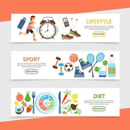 Flat healthy lifestyle horizontal banners with running athlete clock sport equipment bottle of water fruits and vegetables vector illustration