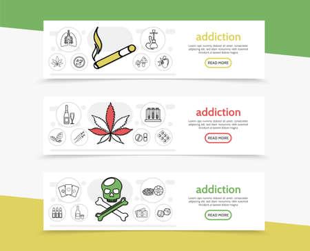 Bad habits horizontal banners with cigarette hookah marijuana tobacco leaves mushrooms drink tubes drugs syringes skull gambling money line icons vector illustration