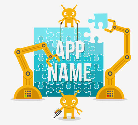 Building app or site from idea to realization. Web mobile business, vector illustration Ilustración de vector