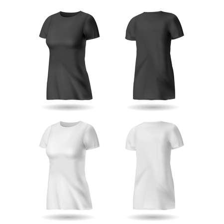 T-shirt design template for women. Black and white