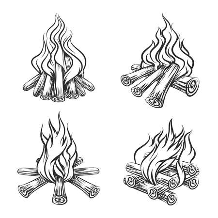 Hand drawn vector bonfire set. Flame and burn, firewood energy, fireplace sketch illustration