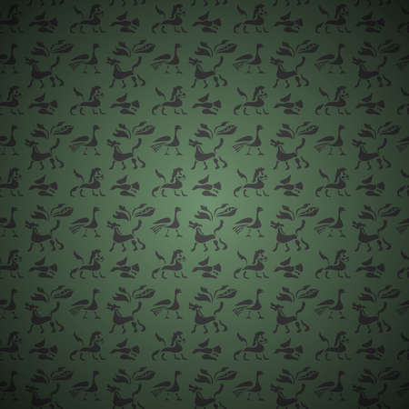 Vector Seamless background of ancient animals and birds on green.