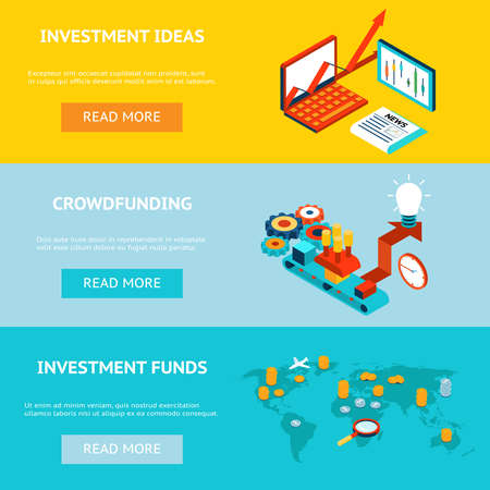 Business investment banners. Crowdfunding, investment ideas and investment funds. Concept strategy, marketing and funding, investor financial, vector illustration