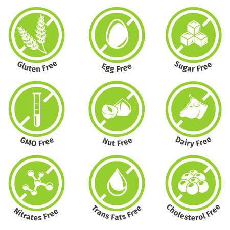 Allergen free products stickers. Eggfree and dairyfree, glutenfree and lactosefree. Vector illustration