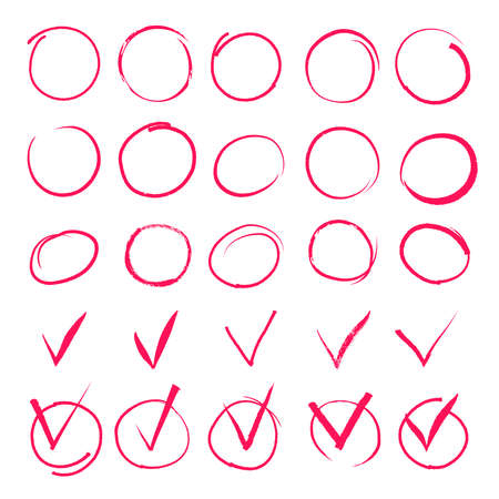 Set of hand drawn highlight red circles and check mark icons. Sign important, symbol element handwritten, vector illustration Vektorové ilustrace