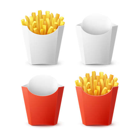 Vector Set of Packed French Fries with Red White Blank Empty Carton Package Box Isolated on Background. Fast Food Vector Illustratie