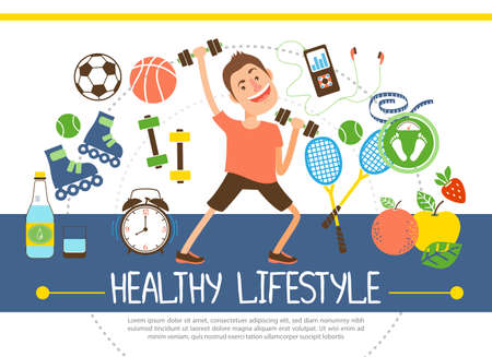 Flat healthy lifestyle concept with athlete soccer basketball tennis balls rackets fruits water scales dumbbels clock rollers music player vector illustration