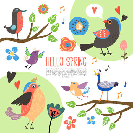 Flat spring time composition with beautiful colorful birds on tree branches tulip rose and other blooming flowers isolated vector illustration