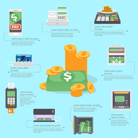 Cash machines infographics. Banking business, card atm payment, credit bank, buy and pay. Vector illustration