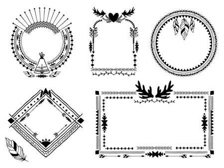 Hand drawn tribal frames. Vintage border, decoration ethnic art element, vector illustration Vetores