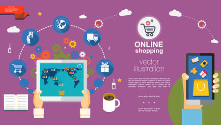 Flat e-commerce template with people ordering goods using tablet and mobile and various online shopping icons vector illustration