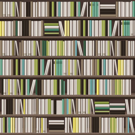 Vector large library bookcase background full of different white, yellow, green and brown books