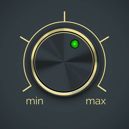 Vector Circular Metal Controller with Green Button Isolated on Black Background. Ilustração Vetorial