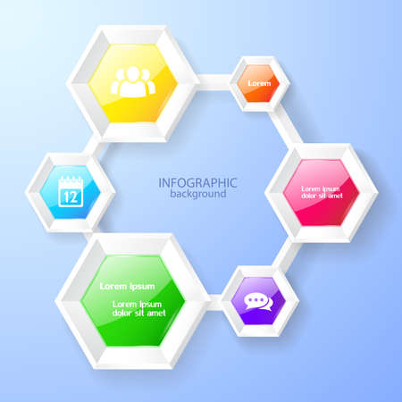 Infographic design template with colorful glossy hexagonal chart and icons on blue background vector illustration