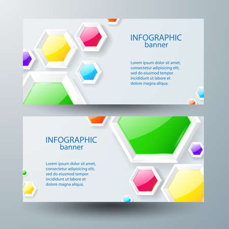 Web infographic horizontal banners with text and colorful glossy hexagons on gray background isolated vector illustration