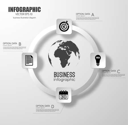 Business infographic design concept with light circle diagram four round squares options and icons vector illustration Vektorgrafik