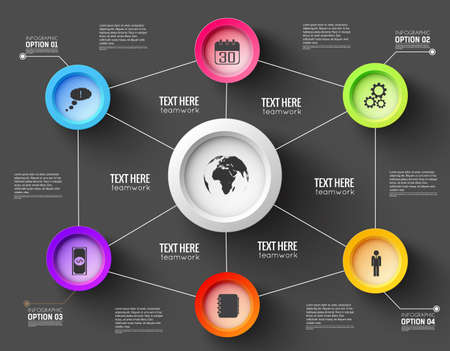 Network infographic template for presentation with lines and functional buttons on black background vector Illustration
