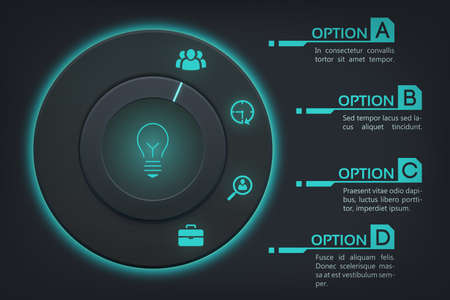 Business web infographics with round button four steps turquoise backlight and icons on dark background vector illustration