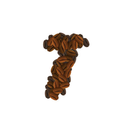 Letter Design Icon Object with T made of coffee beans isolated vector illustration
