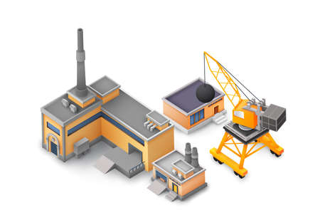 Factory objects design concept on white background with industrial constructions, yellow and grey buildings, machine and different tools concept vector illustration