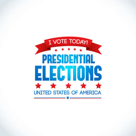 Decorative colored design poster on white background with slogan to vote today on presidential elections in United States of America vector illustration