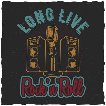 Rock'n'roll poster with words long live rock'n'roll to design for t-shirt