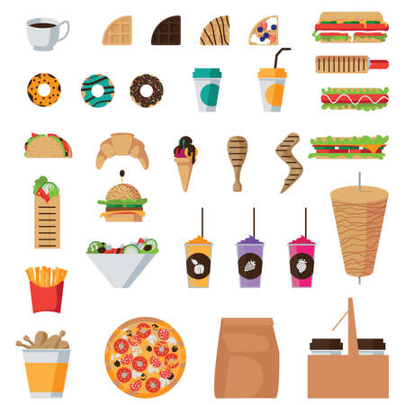Fast food flat icons set isolated Vector Illustration