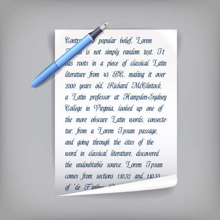 Pen and white sheet of paper with penscript text on grey background flat vector illustration