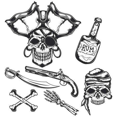 Set of pirat elements (bottle, bones, sword, gun) for creating your own badges, logos, labels, posters etc. Isolated on white