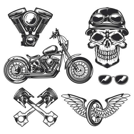 Set of biker and motorcycle for creating your own badges, labels, posters etc. Isolated on white