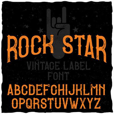 vintage label typeface named rock star
