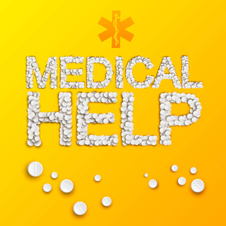 Bright pharmaceutical template with medical help inscription from pills and drugs on yellow background vector illustration Banque d'images - 167000248