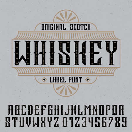 Original whiskey poster with label font in vintage style vector illustration Vetores