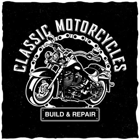 Classic motorcycles poster with words build and repair with motorcycle vector illustration