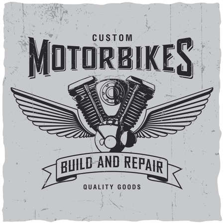 Custom motorbikes poster with words build and repair with motorcycle engine vector illustration
