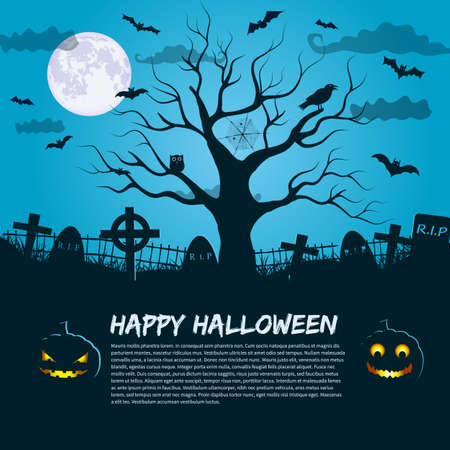 Happy Halloween poster with silhouette of dead tree at moon night sky background and place for invitation text flat vector illustration