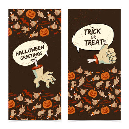 Happy Halloween vertical banners with speech clouds cut zombie arms gestures traditional icons brown background vector illustration