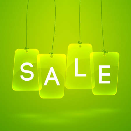 Bright green background with word sale written on labels flat vector illustration Banque d'images - 167000536