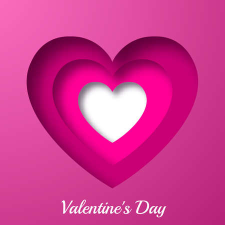 Beautiful romantic template with inscription colorful hearts cut out from pink paper background vector illustration