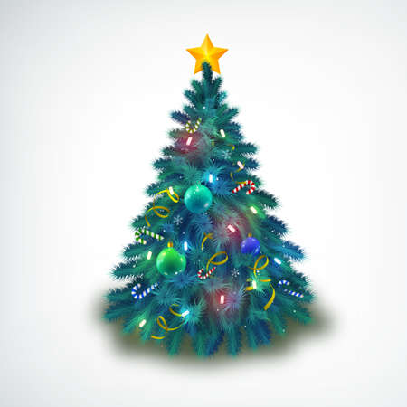 Beautiful decorated with baubles and stars christmas tree on white background realistic vector illustration