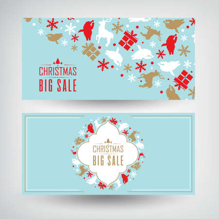 Vector set of two Christmas sale banners with information about discounts on the blue background decorated by the traditional objects and symbols vector illustration
