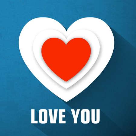 Valentines day template with inscription red and white hearts long shadow on blue background isolated vector illustration