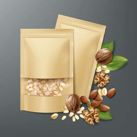 Vector blank sealed foil, plastic bags full of peeled pine nuts with walnuts, almonds and peanuts top view on dark background