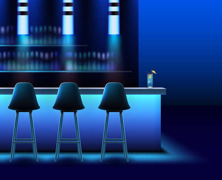 Vector empty night club interior in blue colors with bar counter,chairs, lamps and alcohol Vektorgrafik