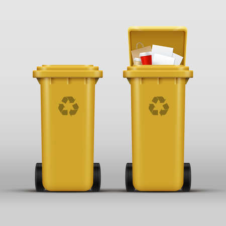 Vector set of yellow recycle bins for paper waste sorting